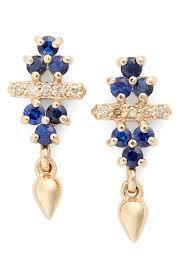 bullet stud earrings sheffield bloom bullet sapphire chagne diamond