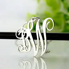 script monogram necklace personalized 2 initial monogram necklace sterling silver