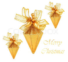 golden tree ornaments and decorations isolated