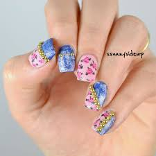 ssunnysideup jeans meet roses nail art with studs