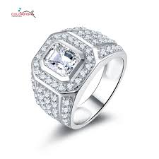 rings with square images Colorfish solid 925 sterling silver 2 5 carat men rings square jpg