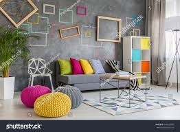 spacious modern lounge grey sofa colorful stock photo 543622099