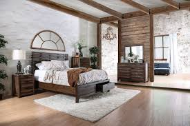 rustic natural tone slatted wing back headboard footboard