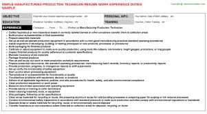 manufacturing production technician resume sample