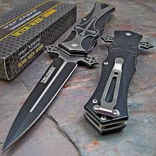 Cross On - amazon com tac dagger style folding knife black sports