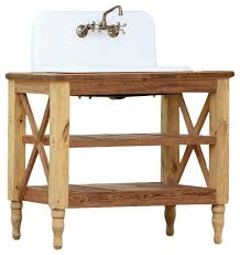 Bathroom Vanity With Farmhouse Sink by 42 U201d Reclaimed Wood French Vanity High Back Cast Iron Farm Sink