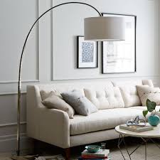 Small Arc Floor Lamp Overarching Linen Shade Floor Lamp Polished Nickel West Elm