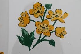 Yellow Wastebasket 50s Vintage Metal Wastebasket Yellow Primroses Chintz Floral