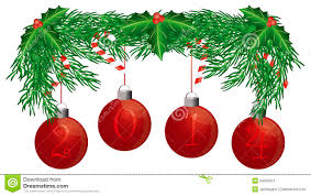 christmas tree garland with 2014 ornaments isolate stock image