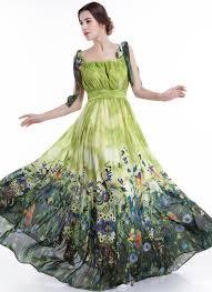 green chiffon colorful bird print maxi evening dress with pleated