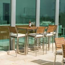 Teak Stainless Steel Outdoor Furniture by Vogue Teak And Stainless Steel Bar Table Set For 4 Westminster