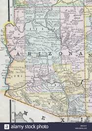 Arizona Map by Original Old Map Of Arizona From 1884 Geography Textbook Stock