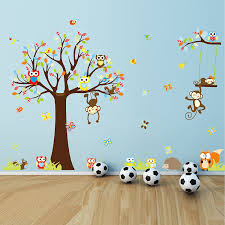 Animal Wall Decals For Nursery by Colorful The Squirrel Owl Monkeys Playing On The Tree Wall Vinly