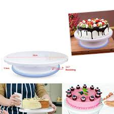 rotating cake stand 28cm non slip rotating cake stand shallow height laabai lk