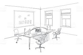 modern interior sketch of open space office stock vector art