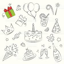 vector sketch clipart set birthday party stock vector art