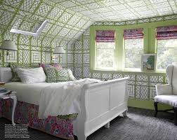 green and cream tented bedroom with daybed stripes bolster