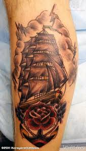 traditional pirate ship with rose and anchor tattoo design for sleeve