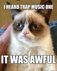 Cat Trap Meme - i heard trap music one it was awful grumpy cat quickmeme