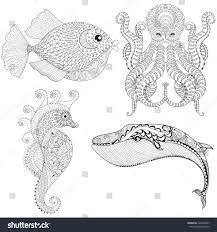 hand drawn zentangle artistic octopus sea stock vector 424938967