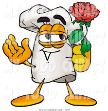 food clip art of a romantic chefs hat mascot cartoon character