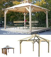 tonnelle de jardin en bois bois 4 pentes toiture bâche sp3535 0 pas cher