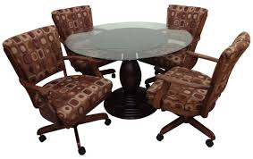 dining table with caster chairs dining room sets with rolling chairs dragonspowerup