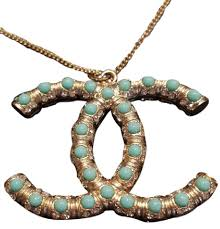 turquoise crystal pendant necklace images Chanel pendant necklace tradesy jpg