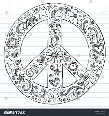 doodle with handdrawn sketchy peace sign doodle flowers stock vector 74539765