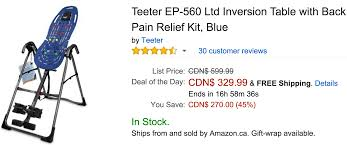 teeter inversion table amazon amazon canada deals of the day save 45 on teeter inversion table