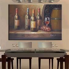 no frame home printed vine glass with cask still life oil painting canvas prints wall art