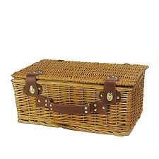 picnic basket set 6 person woven honey willow and striped picnic basket set