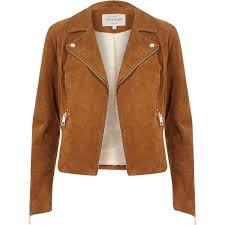 river island tan suede biker jacket in brown lyst