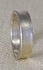 dakota wedding band 1997 silver washington us quarter dollar sided 3d coin ring