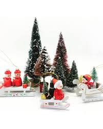 special vintage 70s wooden ornaments sled and
