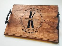 wood engraved serving tray custom wedding gift personalized