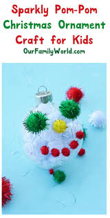 christmas craft for kids sparkly pom pom tree ornament