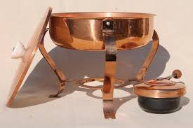 solid copper chafing dish w warmer burner vintage buffet serving