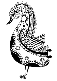 ink drawing of tribal ornamental bird ethnic stock vector image