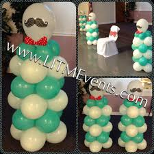 Baby Shower Centerpieces Boy by Mustache Themed Mini Balloon Columns Mustache Baby Shower