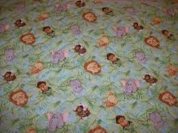 jungle babies pre quilted fabric panel side print