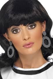 black girl earrings black white polka dot 60 s mod girl earrings candy apple