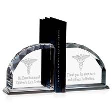 personalized caduceus bookends personalized