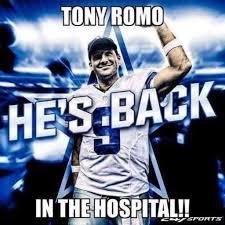 Tony Romo Meme Images - social media memes roast tony romo and his latest injury