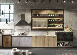 design industrial kitchen matte concrete and grey wood solid