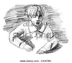 boy sitting original pencil sketch of four year old boy sitting
