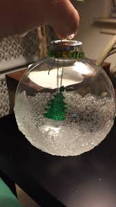 epsom salt dipped clear ornament added a glitter tree hanging to
