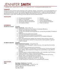 Entry Level Chemist Resume Professional Chemist Templates To Showcase Your Talent