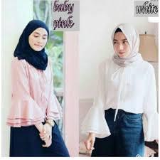 blouse wanita blouse wanita putih polos baby pink lengan panjang model payung