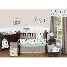 nature animal woodland themed green brown 9p baby boy crib bedding